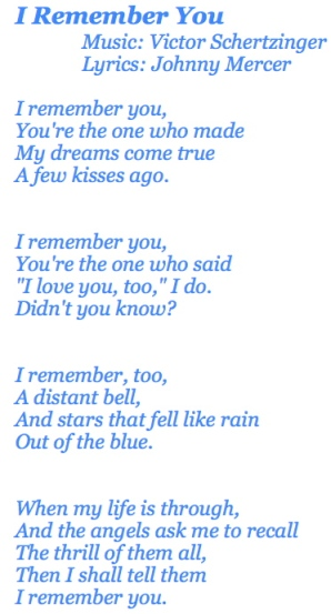 I Remember You Lyrics