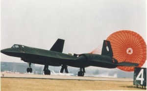 Lockheed SR-71 landing with drag chute (S/N 61-7972). (U.S. Air Force photo)